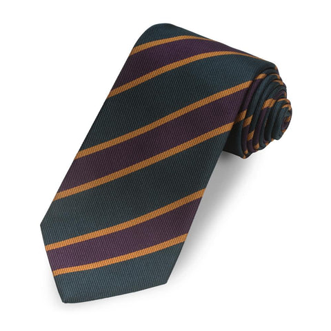 Kensington Stripe 350 End (Green, Orange, Purple) Silk Tie