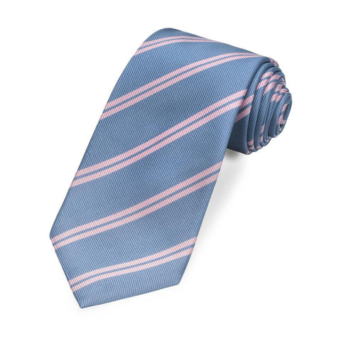 Richmond Stripe 350 End (Light Blue / Double Pink) Silk Tie