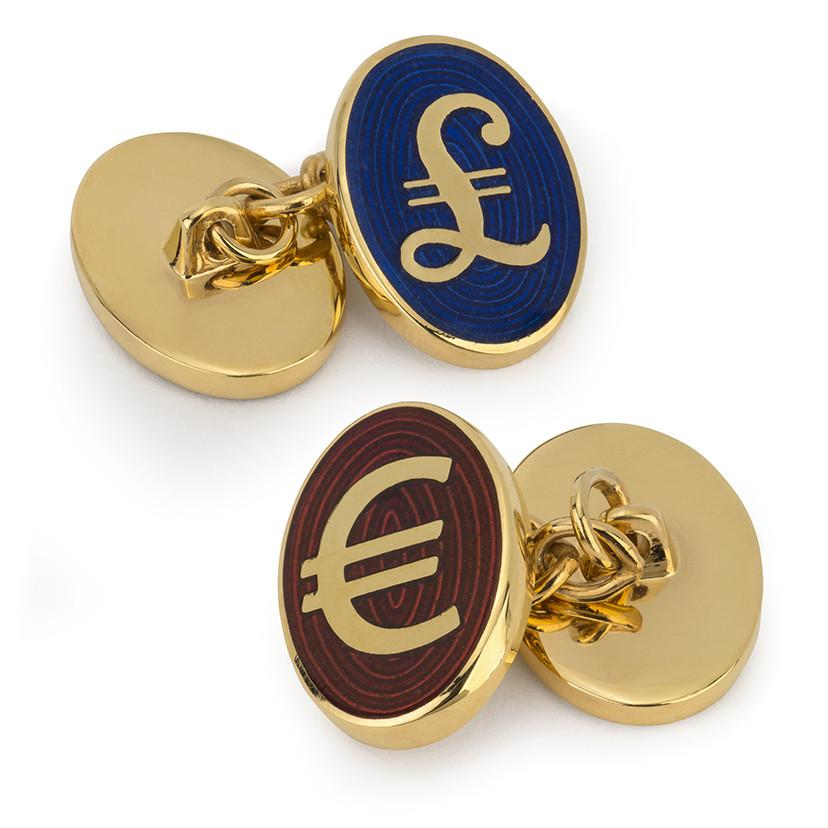 Pound And Euro Enamel Chain Cufflinks