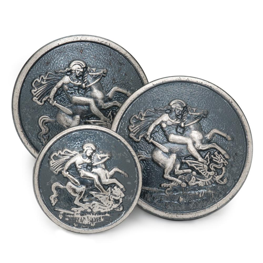 St George & The Dragon (Antique Silver) Blazer Button (Single Breasted)