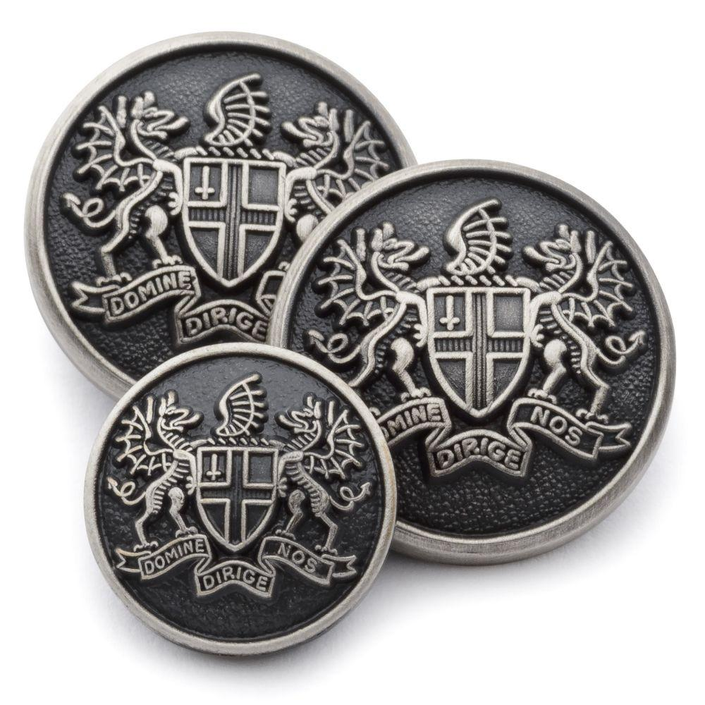 City Of London (Antique Silver) Blazer Button Set (Double Breasted) Blazer Buttons Not specified