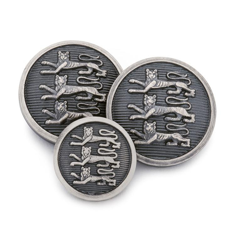 Three Lions (Antique Silver) Blazer Button Set (Double Breasted)