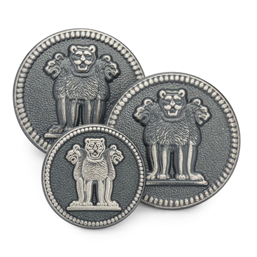 Three Lions Of Ashoka (Antique Silver) Blazer Button Blazer Buttons Not specified