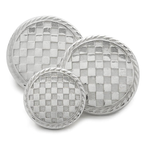 Checkerboard (Silver) Blazer Button Set (Double Breasted) Blazer Buttons Not specified