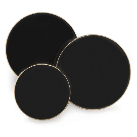 Plain Black Enamel Blazer Button Set (Double Breasted)