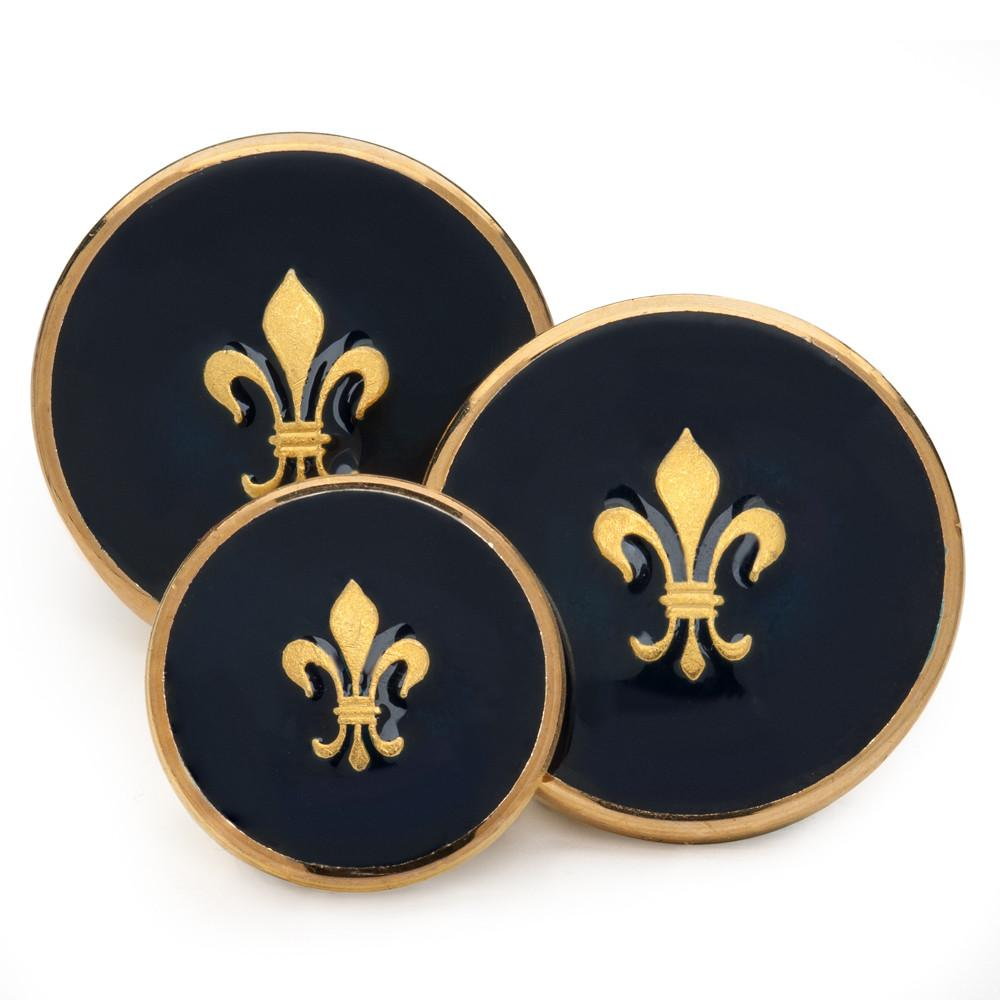 Fleur De Lys (Blue Enamel) Blazer Button Set (Single Breasted) Blazer Buttons Not specified