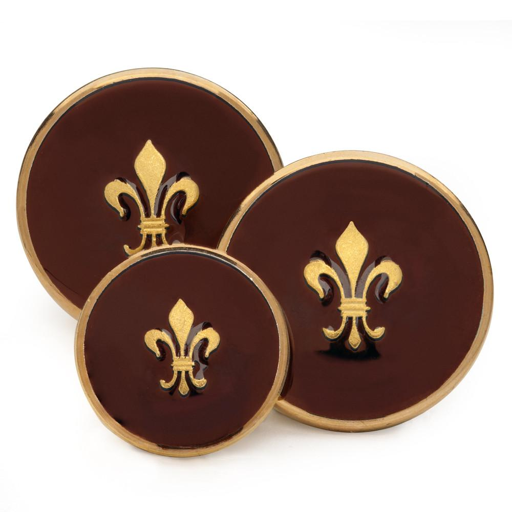Fleur De Lys (Red Enamel) Blazer Button Set (Single Breasted)