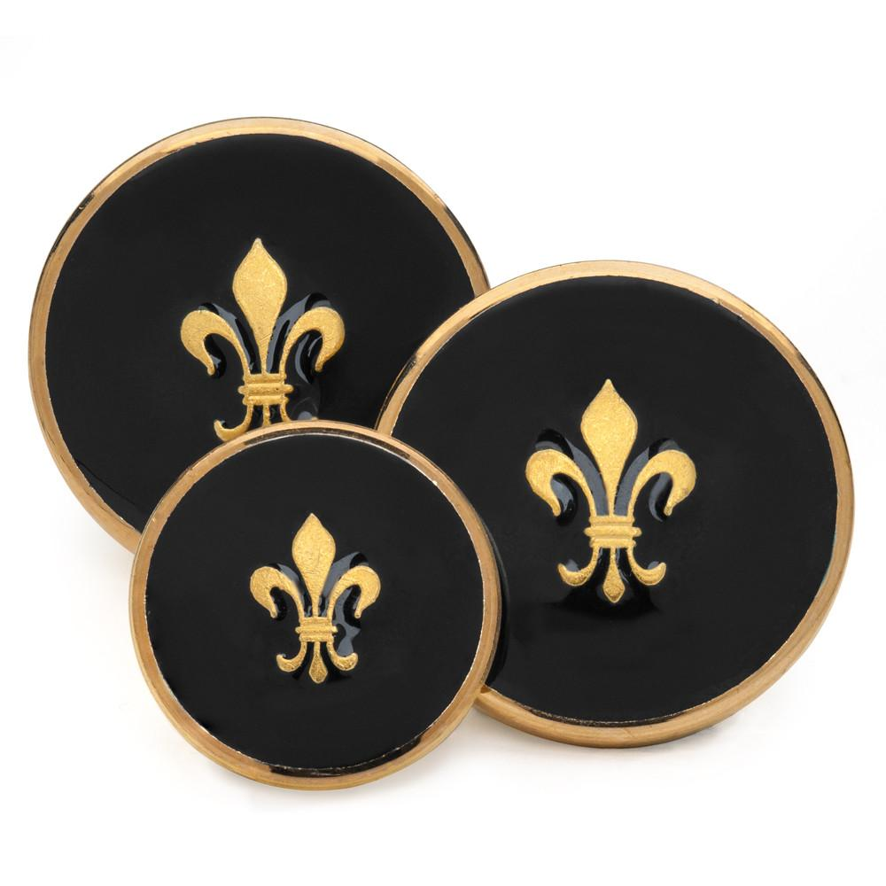 Fleur De Lys (Black Enamel) Blazer Button Set (Double Breasted)