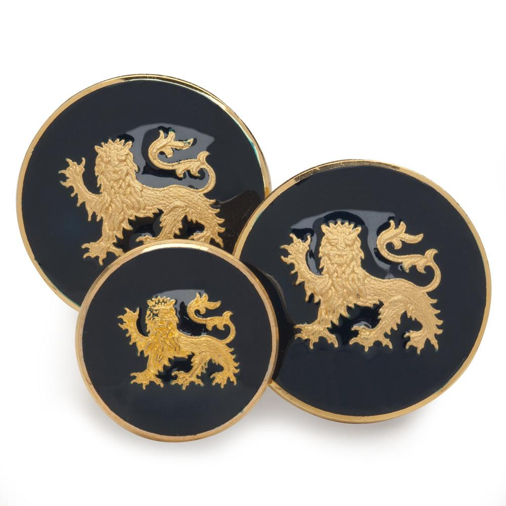 Lion Passant Guardant (Blue Enamel) Blazer Button Set (Double Breasted)