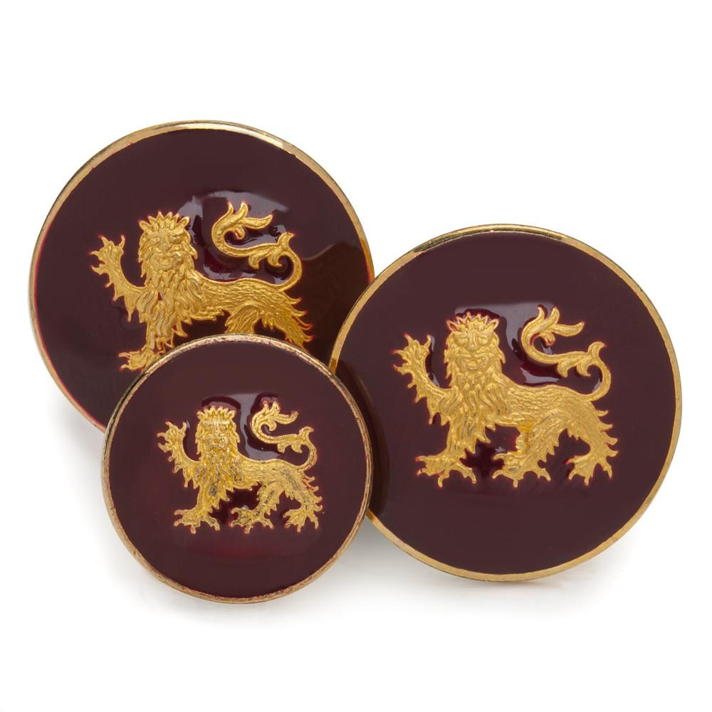 Lion Passant Guardant (Red Enamel) Blazer Button Set (Double Breasted)
