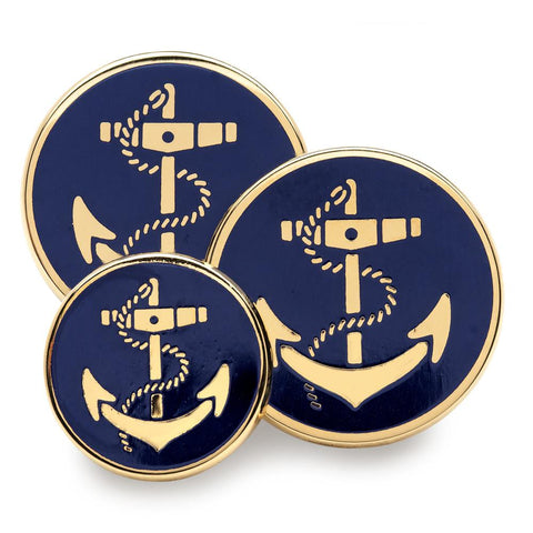 Anchor (Blue Enamel) Blazer Button Set (Double Breasted) Blazer Buttons Not specified