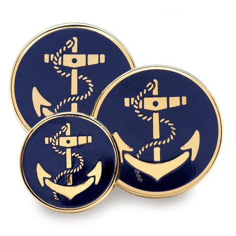 Anchor (Blue Enamel) Blazer Button