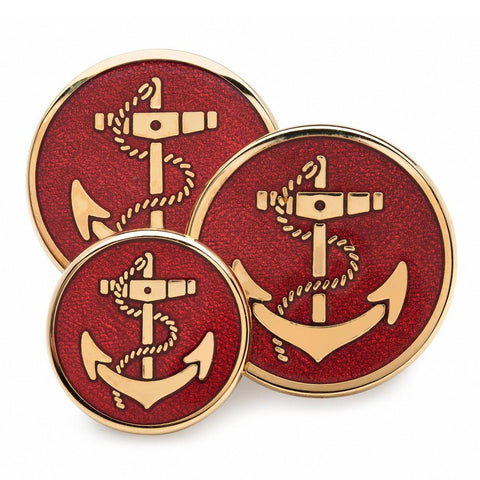 Anchor (Red Enamel) Blazer Button Set (Double Breasted) Blazer Buttons Not specified