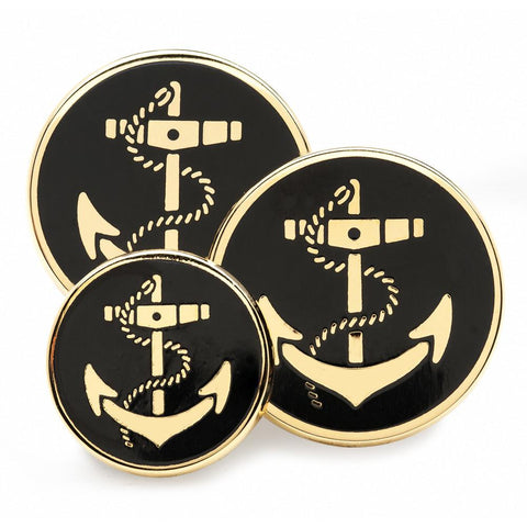 Anchor (Black Enamel) Blazer Button Set (Double Breasted)