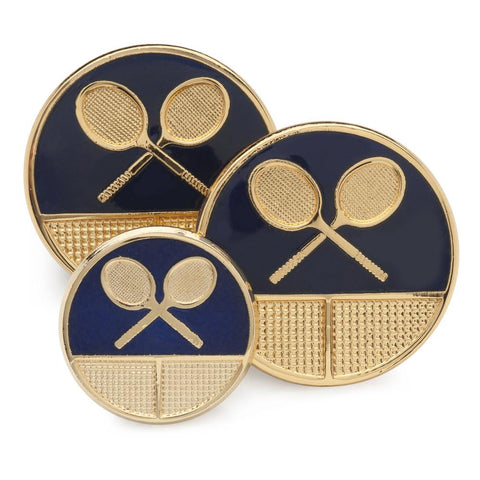 Tennis (Blue Enamel) Blazer Button Set (Double Breasted)