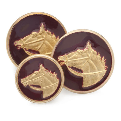 Horse Head (Red Enamel) Blazer Button Set (Double Breasted)