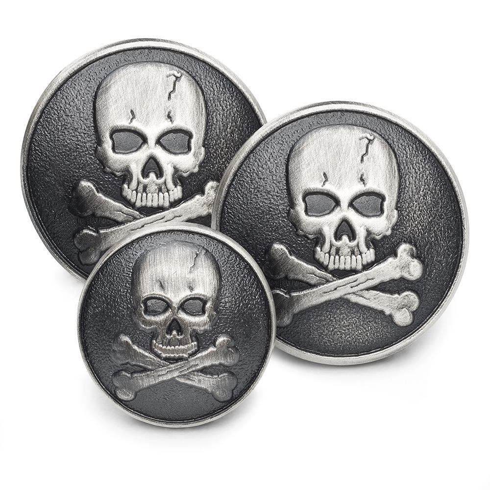 Skull & Crossbones (Antique Silver) Blazer Button Set (Single Breasted)