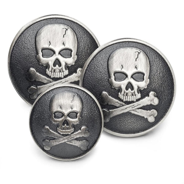 Skull & Crossbones (Antique Silver) Blazer Button Set (Single Breasted) Blazer Buttons Not specified