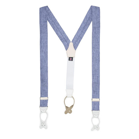 Linen Braces In Sky Blue