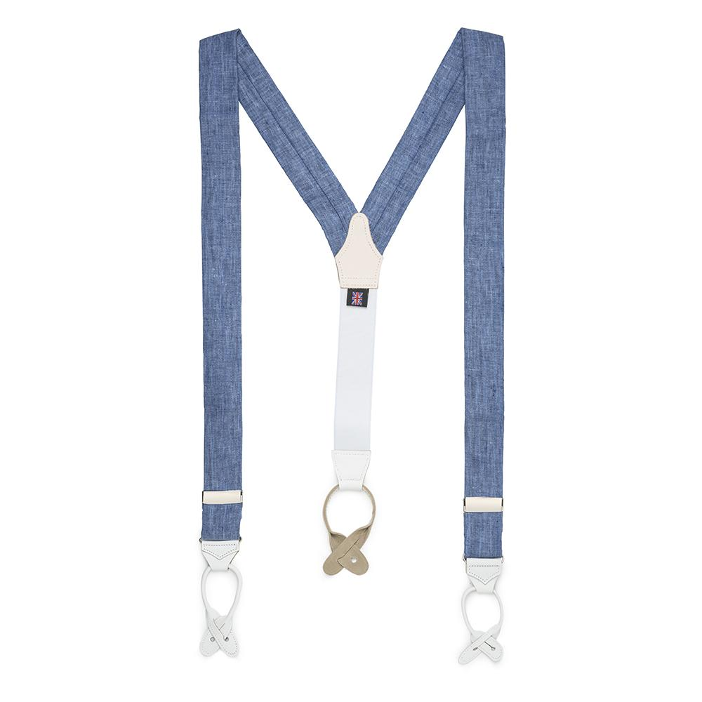 Linen Braces In Blue Accessories Not specified