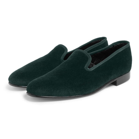 Plain Velvet Albert Slippers In Green Accessories Benson And Clegg