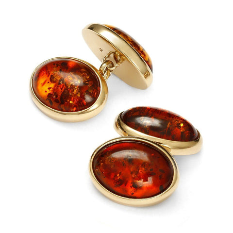 Baltic Amber Gold Chain Cufflinks