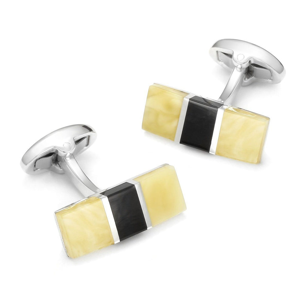 Baltic Amber With Jet Rectangle Cufflinks