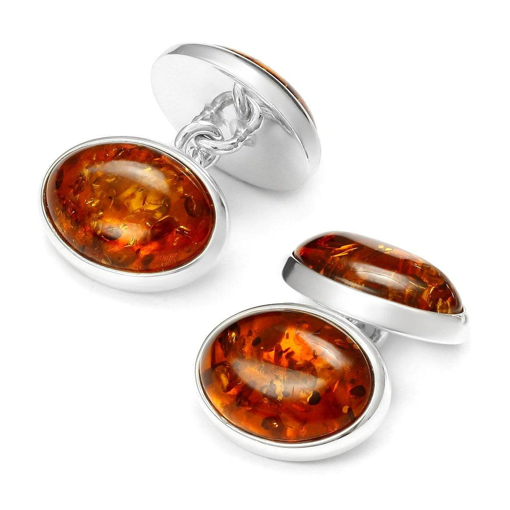 Baltic Amber Silver Chain Cufflinks