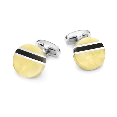 Baltic Amber Round Cufflinks Cufflinks Benson And Clegg