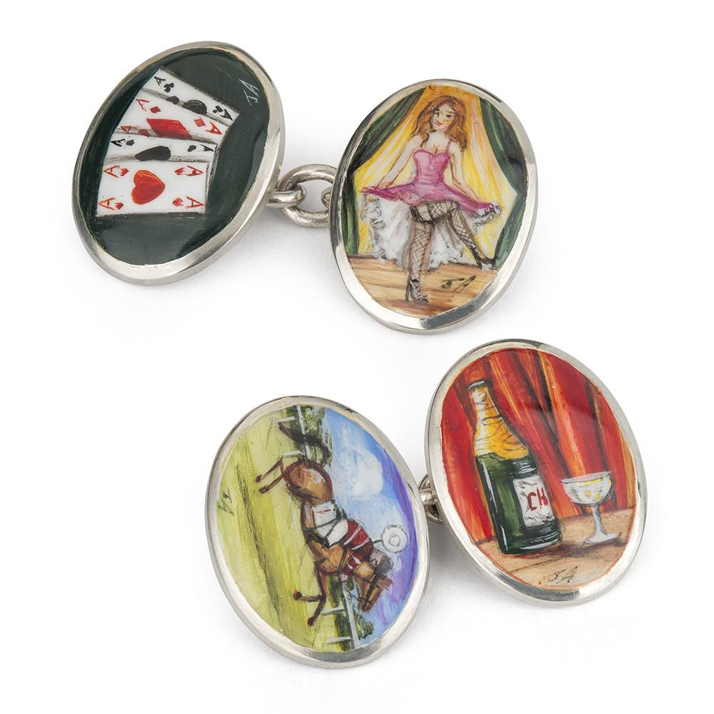 Four Vices Hand Decorated Cufflinks