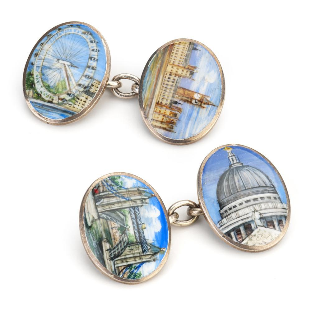 London Scenes Hand Decorated Cufflinks