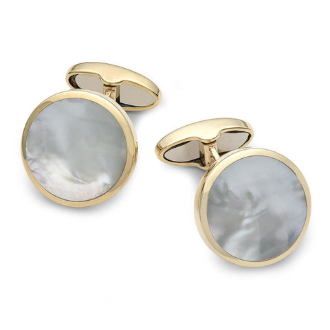 9ct Gold & Mother Of Pearl Round Cufflinks Cufflinks Benson And Clegg