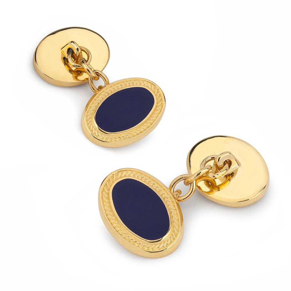 Filigree Chain Cufflinks In Navy Enamel Cufflinks Not specified