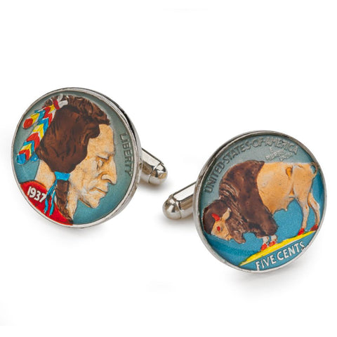 USA Five Cents (Buffalo & Native American) Coin Cufflinks