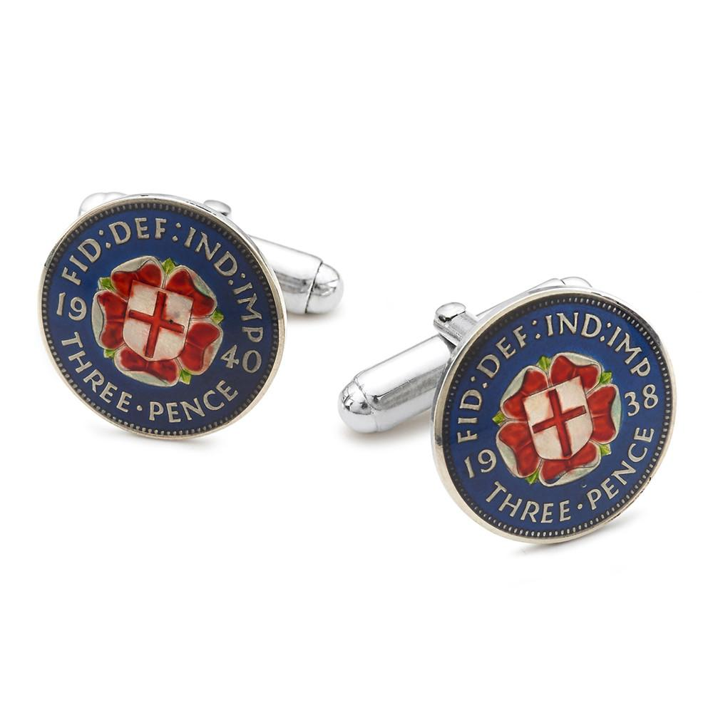 UK Three Pence (George VI Rose) Coin Cufflinks