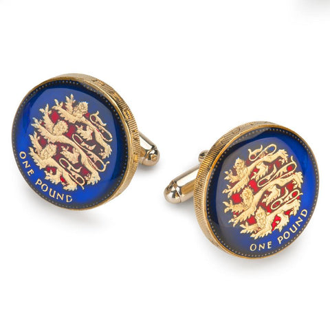 UK English Pound (Blue/Red) Coin Cufflinks