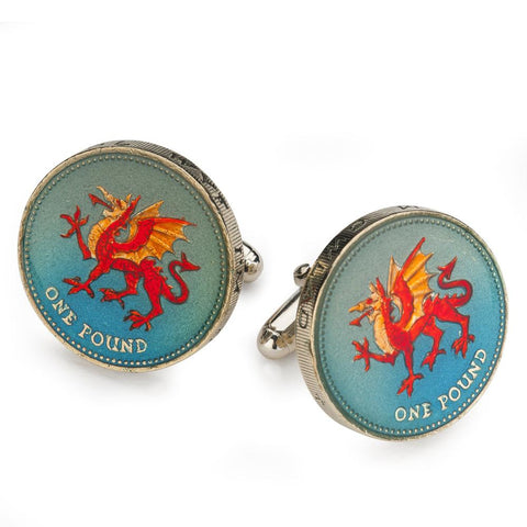 UK Welsh Dragon Pound Coin Cufflinks (RARE)