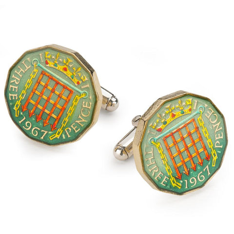 UK Three Pence (Elizabeth II) Coin Cufflinks