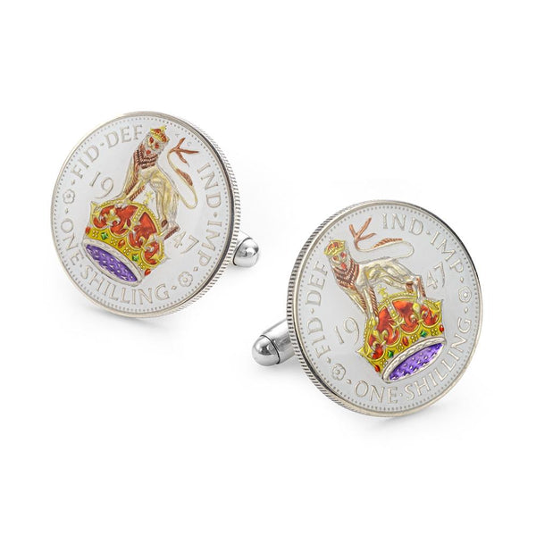 Enamelled Coin Cufflinks One Shilling Shield