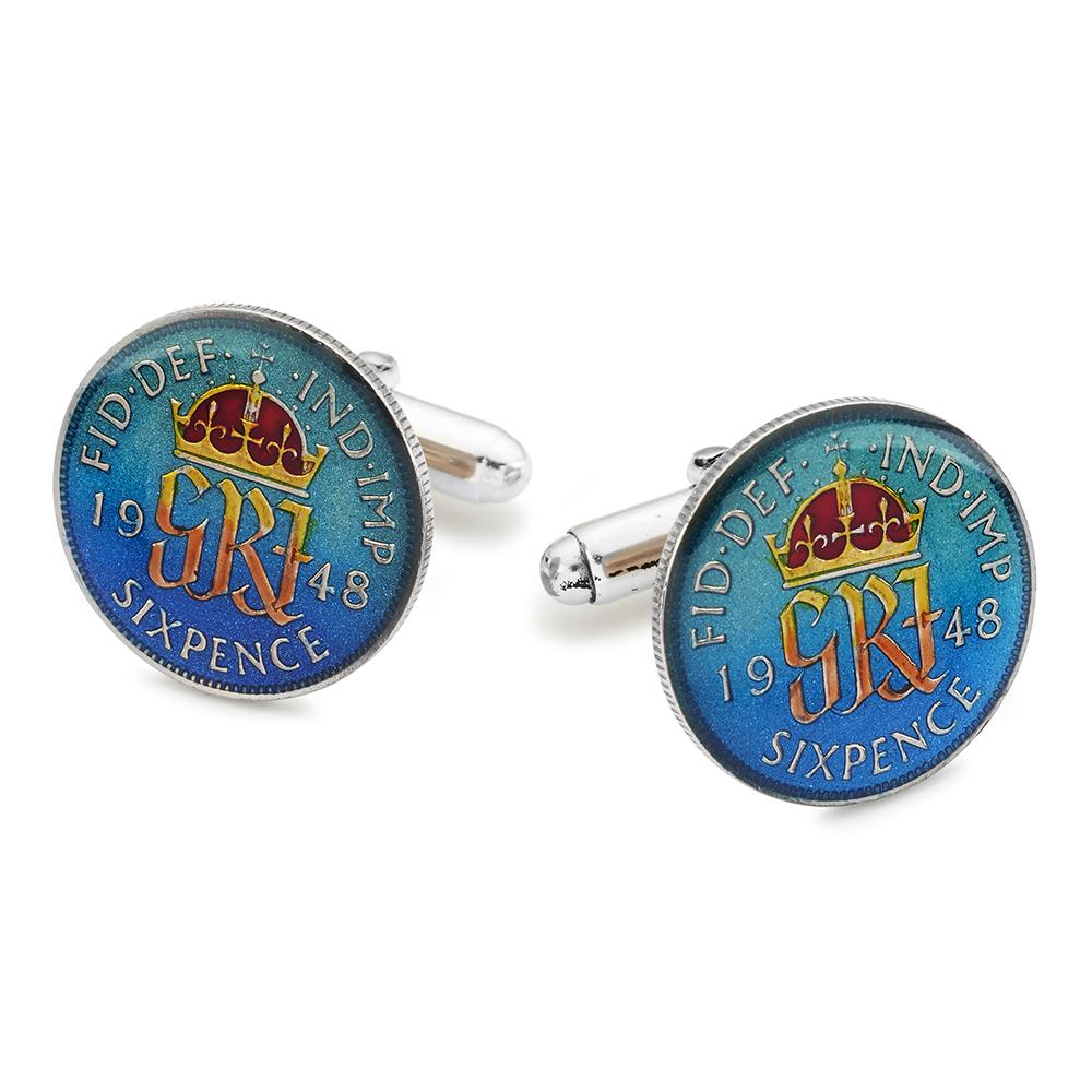 UK Sixpence (George VI) Coin Cufflinks