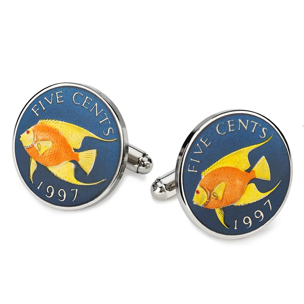 Bermuda Five Cents (Angel Fish) Blue Coin Cufflinks