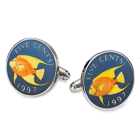 Bermuda Five Cents (Angel Fish) Blue Coin Cufflinks Cufflinks Not specified