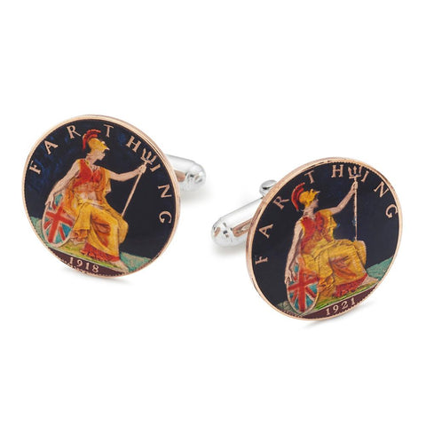 UK Britannia Farthing (Black) Coin Cufflinks