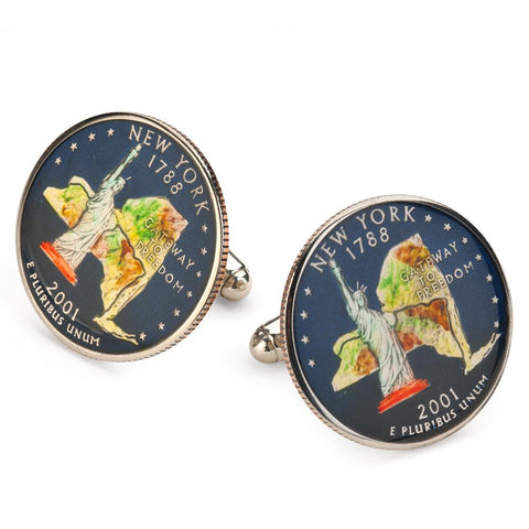 New York State Quarter Coin Cufflinks