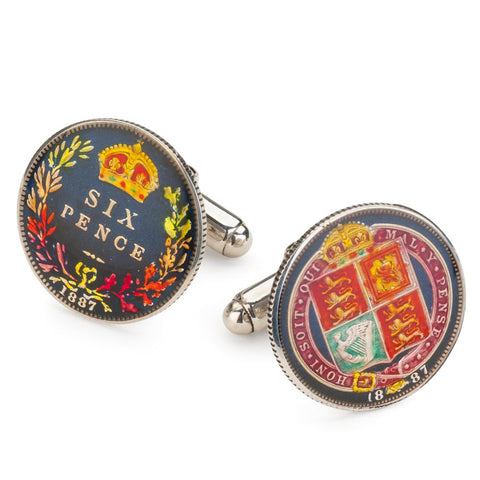 UK 1887 Queen Victoria Sixpence And Shield Coin Cufflinks