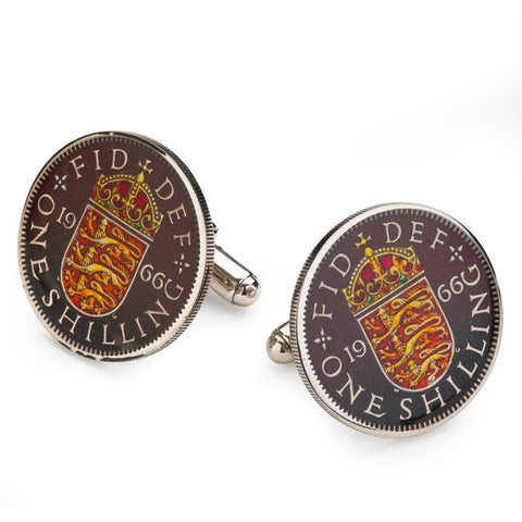 UK English Shilling (3 Lions) Coin Cufflinks