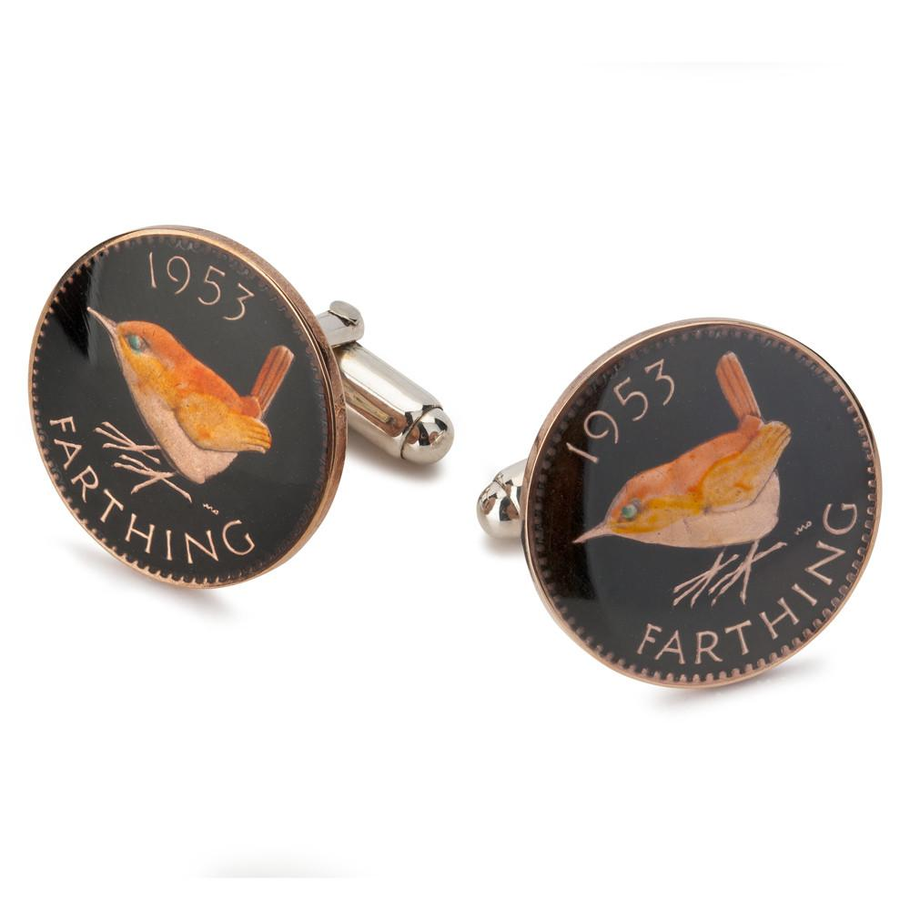 UK Wren Farthing (Black) Coin Cufflinks Cufflinks Benson And Clegg