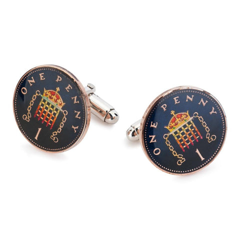 UK One Pence Coin Cufflinks