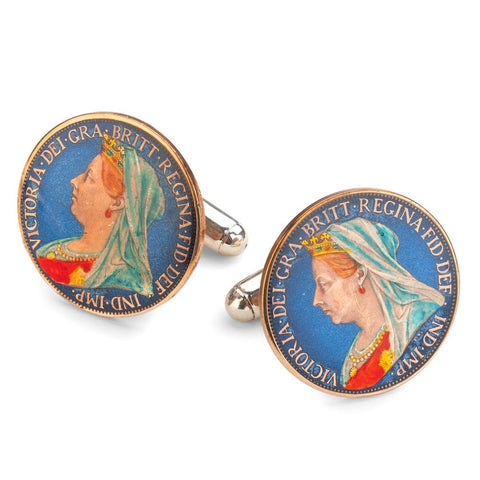 UK Farthing (Queen Victoria) Coin Cufflinks