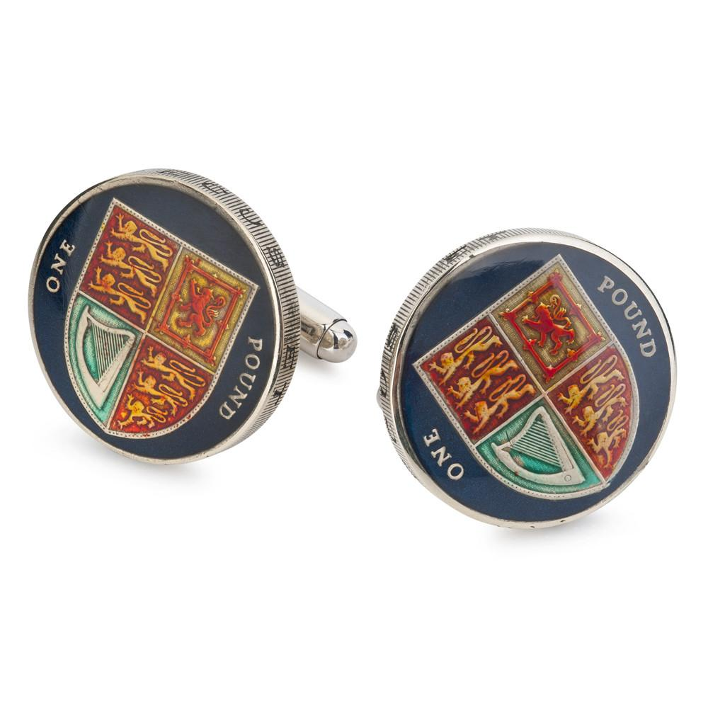 UK Royal Shield Pound Coin Cufflinks (RARE)